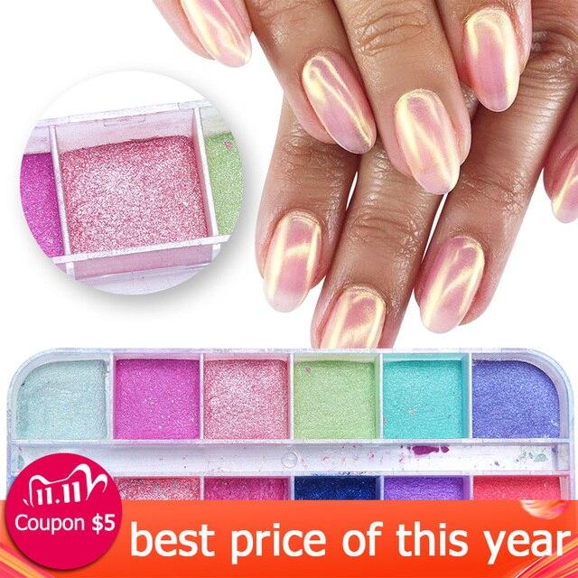 Polvo de uñas cromo de 12 rejillas para inmersión, Polvo de pigmento de colores, purpurina de perlas para decoración de uñas, LAZGF 1