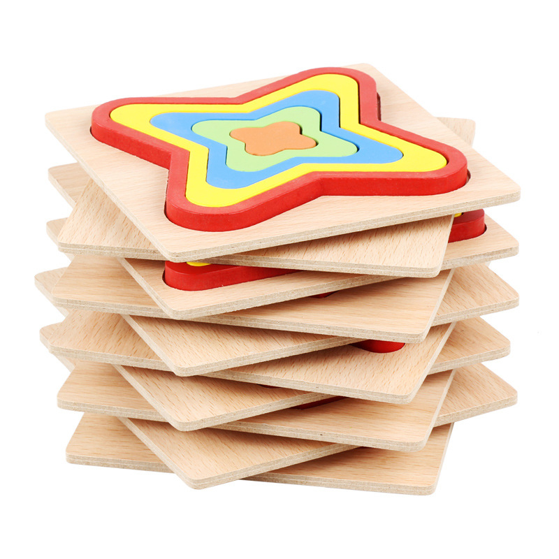 Wooden Geometric Shape Puzzle Kids Montessori Toys Educational Shape Cognition Children Jigsaw Puzzle Board Learning Sensory Toy 4