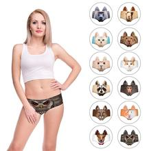 2019 New Women 3D Animal Print Cute Underwear Briefs with Pig Ears Cat ear Fox Wolf Printing For