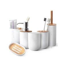 Бамбук 6 шт набор для ванной держатель зубной щетки аксессуары