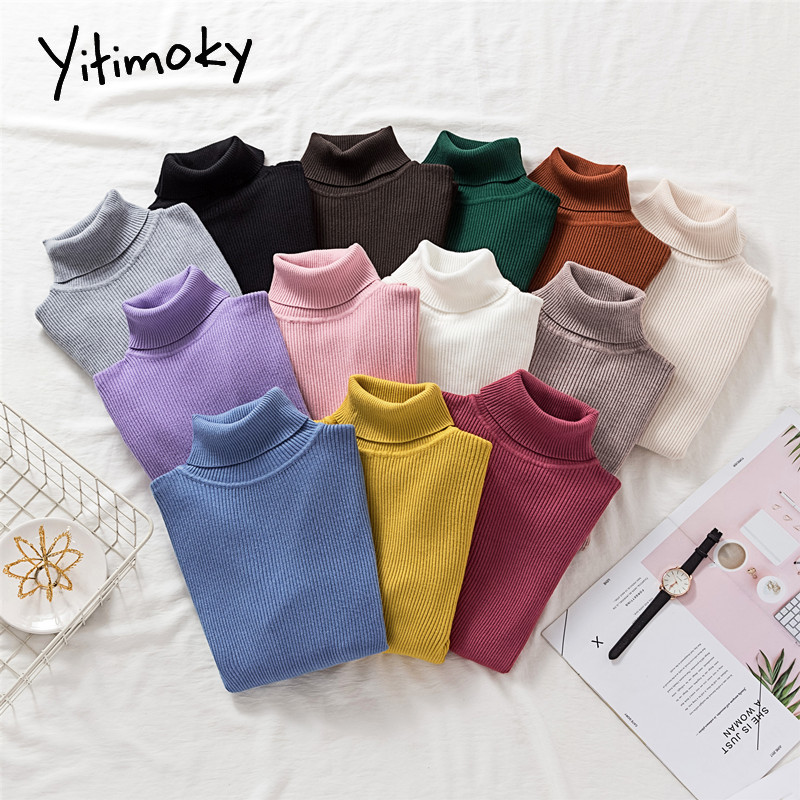 Women Sweaters And Pullovers Acrylic Turtleneck Knitted Winter Clothes Korean Sweater Long Sleeve Casual Solid Striped Shirt