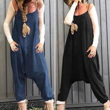 Women's Drop Crotch Jumpsuits ZANZEA 2020 Vintage Summer Linen Overalls Casual S