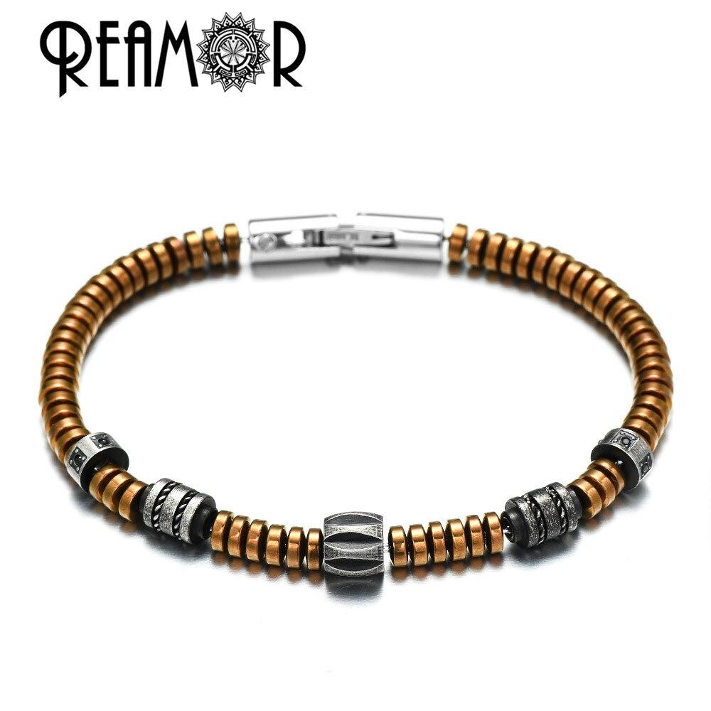 REAMOR Vintage DIY Men Women Bracelets Detachable Black CZ Inlay Stainless Steel Beads Coffee Golden Hematite Bracelet Jewelry