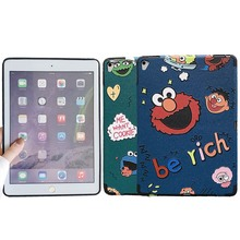 For Apple ipad Air case cute sesame street embossment ultrathin PU leather Protective TPU Cover for pro 9.7 inch soft coque