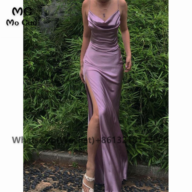 2021 Sheath Sexy Prom Evening Dresses Long Spaghetti Straps V-Neck Robe De Soiree With Side Slit Party Prom Dresses 1