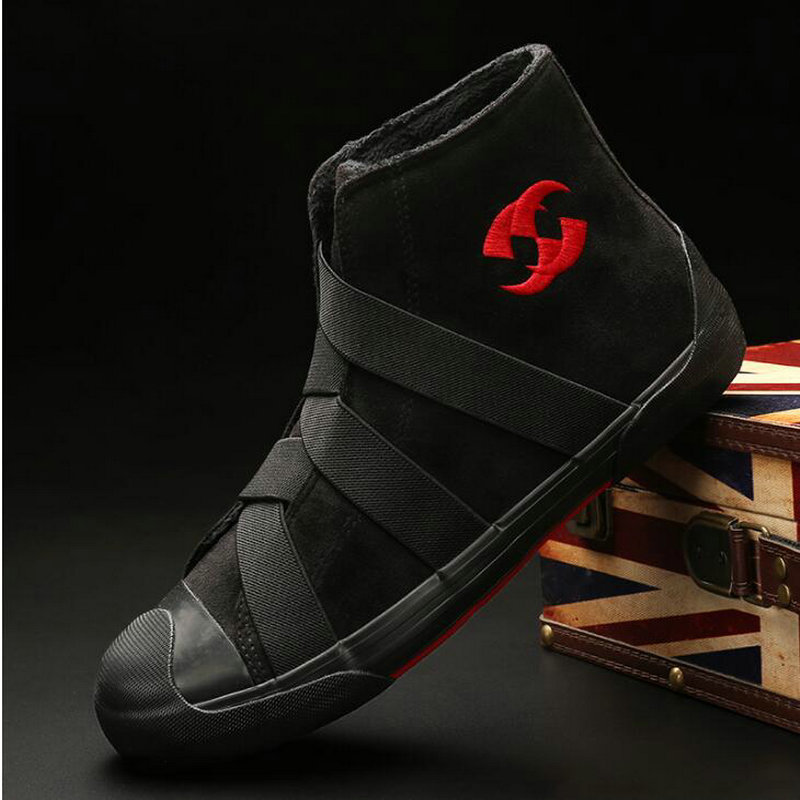 Fashion Casual Male Flats Shoes Ankle Boots Winter Snow Shoes High top Men casual sneaker Flats