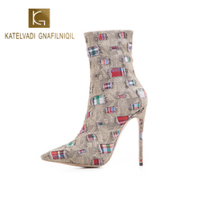 KATELVADI Fashion Ankle Boots High Heels 5Inches Denim Ladies Zip Autumn Winter Shoes Dropshipping K-564