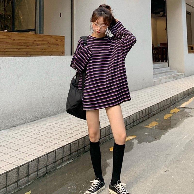 Модная новая сексуальная Корейская свободная футболка большого размера с круглым вырезом и длинными рукавами в полоску фиолетовая черная ...
