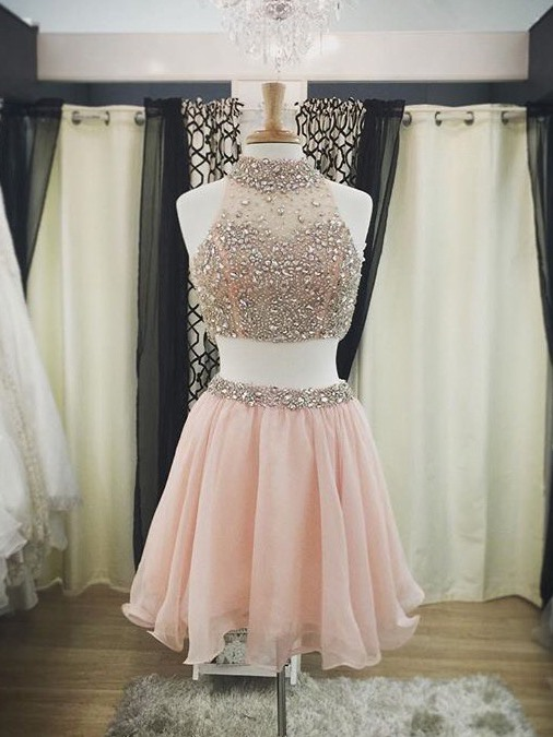 Short   Cocktail     Dresses   High Neck Beading Two Pieces Prom Formal   Dress   Women Occasion Hocomcoming Party   Dresses   Robe De Soiree
