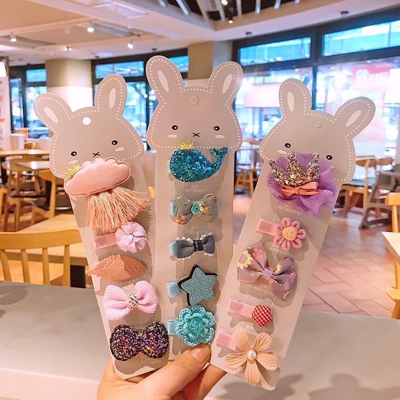 6 Pcs/sets Children's Hair Clip Headdress Korea Lovely Cute Cartoon Hair Clip Girl Princess Baby Clip Set Hair Accessories