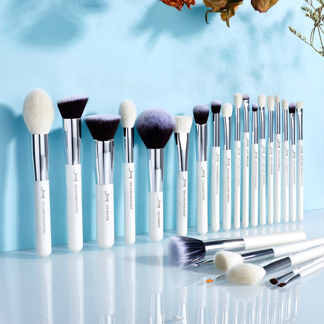 Jessup makeup brushes 25pcs White/Silver Synthetic/Natural Hair pincel maquiagem Eyeshadow Foundation Highlighter brushes T235 3