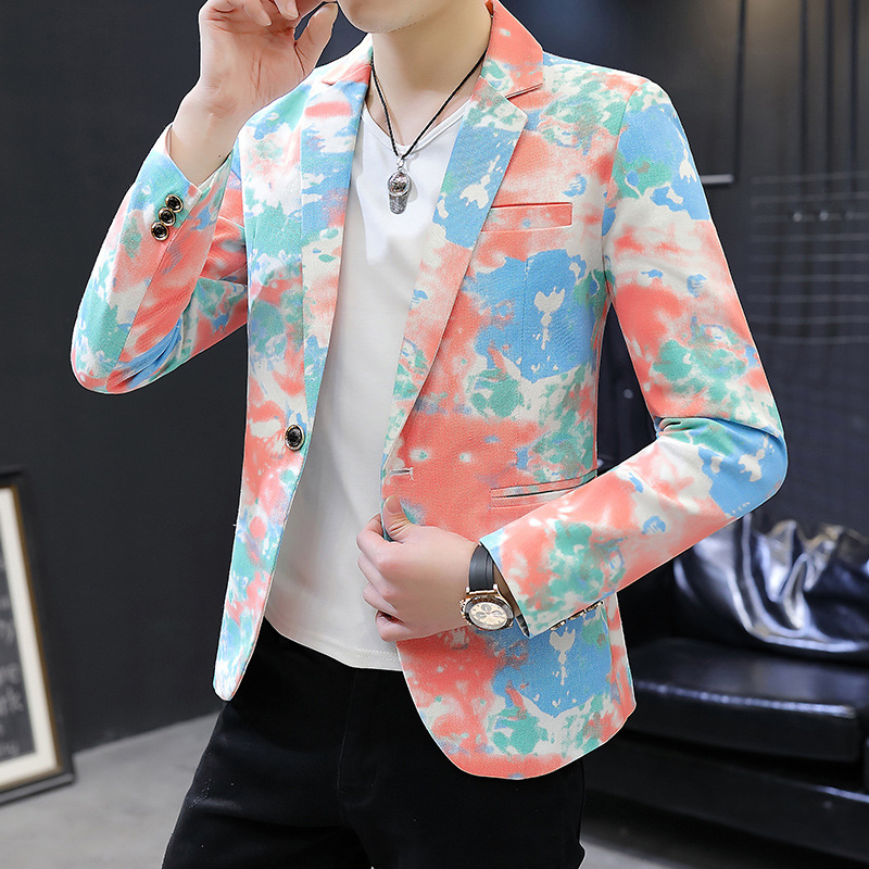 2020 Men New Style Spring Printed Camouflage Suit Teenager Slim Fit Casual Cotton Linen Suit