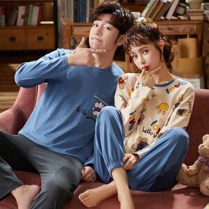 Image 5 - Cặp Đôi Loungewear Pijama Thu Đông Mới Thời Trang Cặp Đôi Bộ Đồ Ngủ Nam Nữ Phù Hợp Với 100% Cotton Đồ Ngủ Pyjama Set Bộ Cặp Đôi