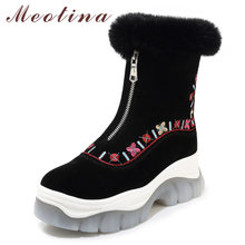 Meotina Real Fur Ankle Boots Women Cow Suede Embroider Flat Platform Snow Boots Warm Plush Zipper Shoes Ladies Winter Size 34-39(China)