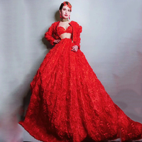 Red Flowers Dress SexyStageCostumeWomen Crystals Outfit 3 Pieces Birthday Evening Party Elegant Dresses Rave Clothes DT1180
