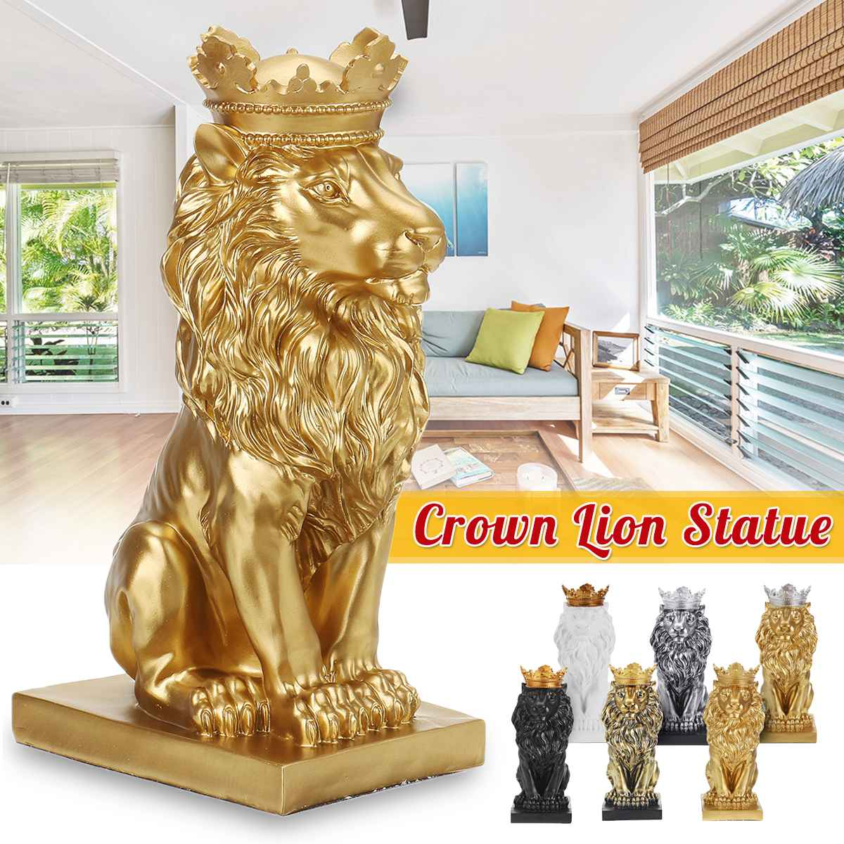 Resin Abstract Lion Sculpture Crown Lion Statue For Decoration Handicraft Lion King Model Christmas Home Ornaments Figurine