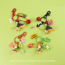 цена на 2020 Kawaii Studio Ghibli Hayao Keychains Miyazaki Kiki's Delivery Service Kiki Cosplay Key Chains Bag Pendant Figure Toys Kids