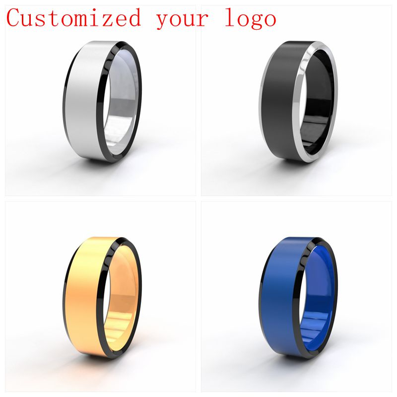 Drop Shipping Custom Name Sport Logos 8mm Black/ Silver/ Gold Blue Stainless Steel Rings Personalize Ring For Men DIY Logo