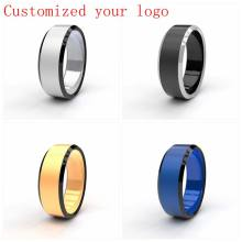 Drop Shipping Custom Name Sport Logos 8mm Black/ Silver/ Gold Blue Stainless Steel Rings Personalize Ring for Men DIY Logo(China)