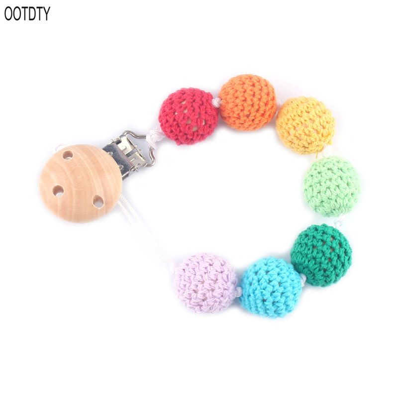 DIY Infant Pacifier Anti-chain Clip Wooden Baby Nipple Anti-drop Anti-lost Chain