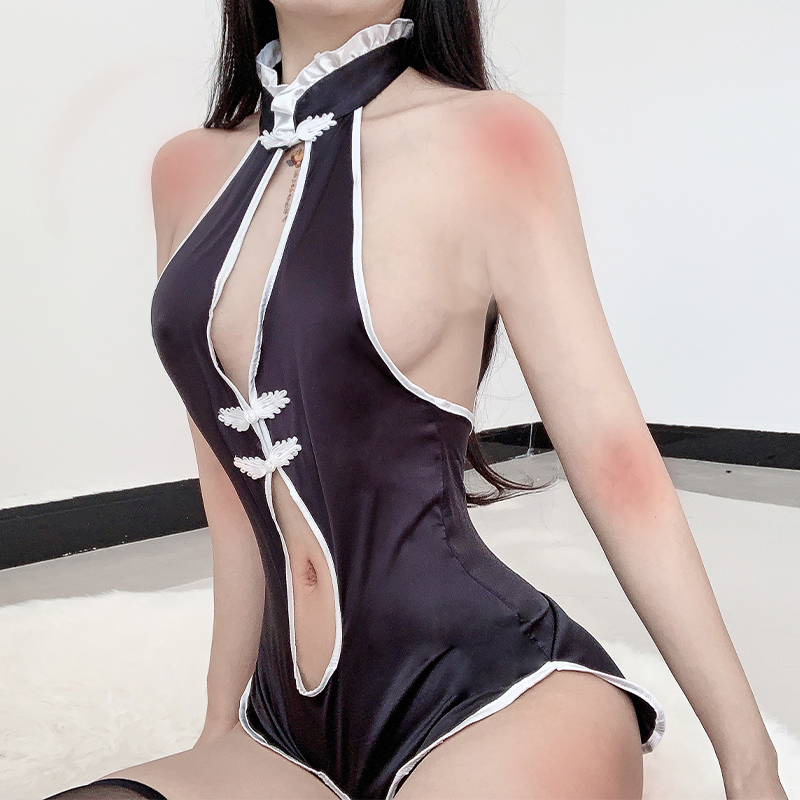 <font><b>Chinese</b></font> Style Sexy School Uniform <font><b>Sex</b></font> Paly Maid Outfit Cheongsam <font><b>Dress</b></font> Role Play Erotic Lingerie with Fan Anime Cosplay <font><b>Dress</b></font> image