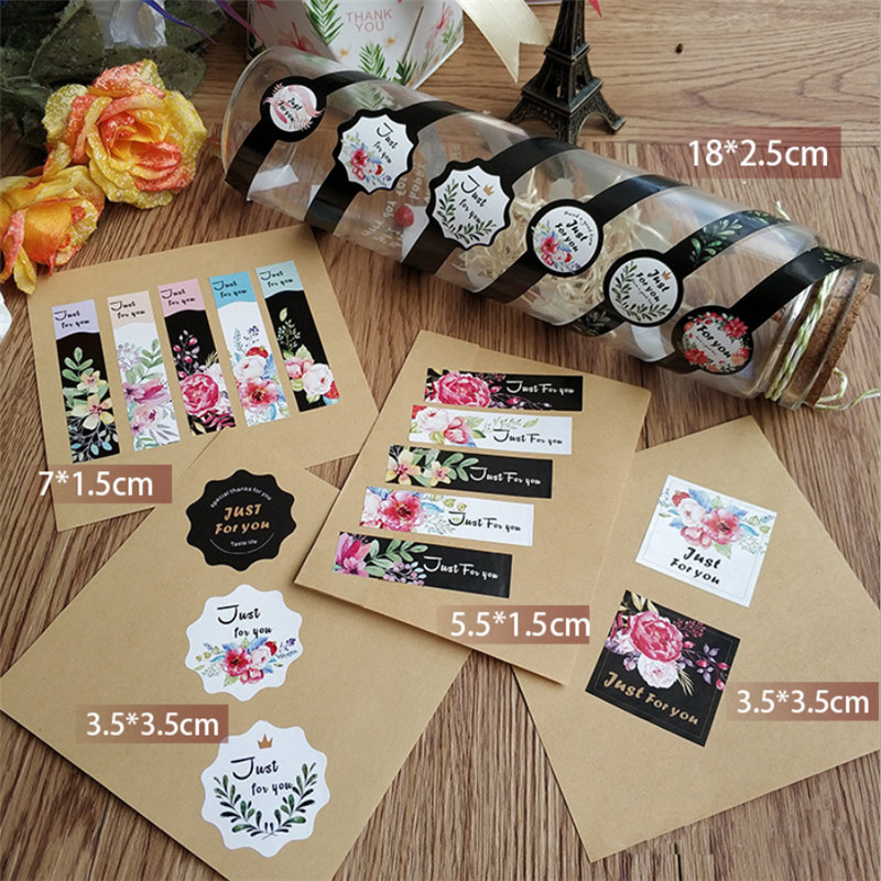 80pcs/pack More Beautiful Square Justforyou Seal Stickers Packaging Label Stationery Sticker And Thankyou Hand Made Stickers