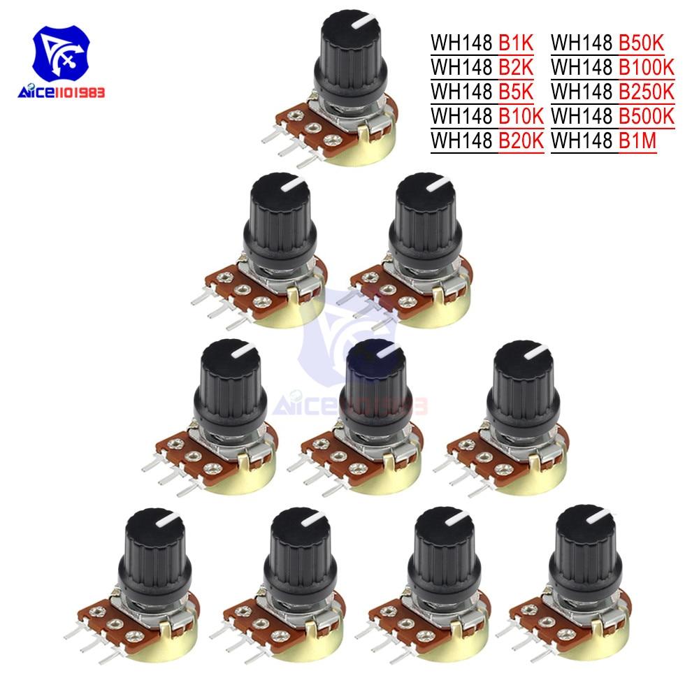5 PCS/Lot Potentiometer Resistor 1K 2K 5K 10K 20K 50K 100K 500K Ohm 3 Pin Linear Taper Rotary Potentiometer For Arduino With Cap