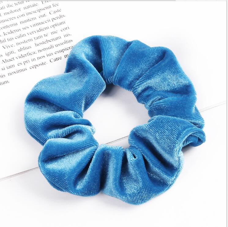 33 цвета, корейские Бархатные резинки для волос, эластичные резинки для волос, одноцветные женские головные уборы для девушек, заколки для волос с конским хвостом, аксессуары для волос - Цвет: Middle Blue
