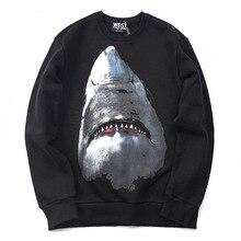 цены Men's Winter Long Sleeve Pullover Round Neck Autumn Winter Men's Sweatshirt Comfortable 3D Print Shark Pattern Ladies Top