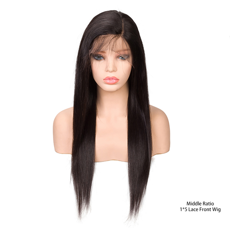 Sevengirls 1*5 Lace Front Human Hair Wigs Brazilian Straight Natural Color 8-26 Inch Middle Ratio Virgin Hair Side Part Wigs