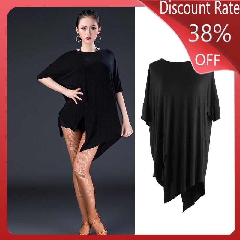 2020 Black Latin Dance Dress Loose Short Sleeve Tango Dress Latin Dance Costume Cha Cha Rumba Samba Performance Clothes DQS4106