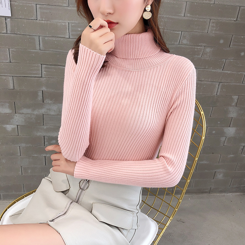 Turtleneck Bodycon Solid Casual Long Sleeve Knitted Sweater Pullover Fashion Winter Sueter Muje New 2019   Female Women Warm