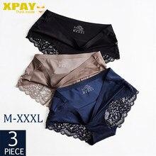 3 pçs/lote conjuntos de calcinha feminina rendas cueca sem costura cuecas de seda cintura baixa sexy mulher briefs sexy senhora lingerie