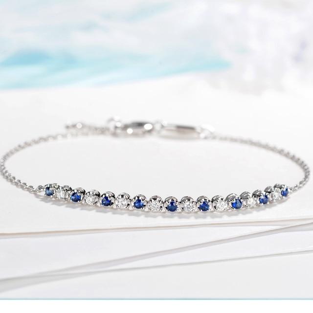 2019 Vintage Diamond Natural Sapphire 18K Solid Real Genuine Gold AU750 Wrap Bracelets Bangles for Women Fancy Gemstone Jewelry 2