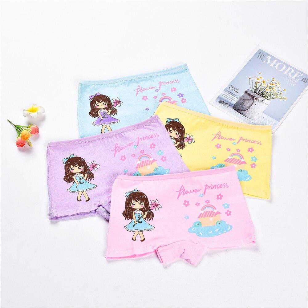 2-12Y Children 4 Pieces/Lot Underwear High Quality Cotton Girls Panties Cute Pattern Kids Boxer Briefs Child Soft girl Pants 2