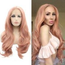 Anogol różowe włosy peruki długie ciało fala syntetyczna koronka peruka front dla kobiet Napnk Peruca Cabelo wysokiej temperatury włókna wolna część