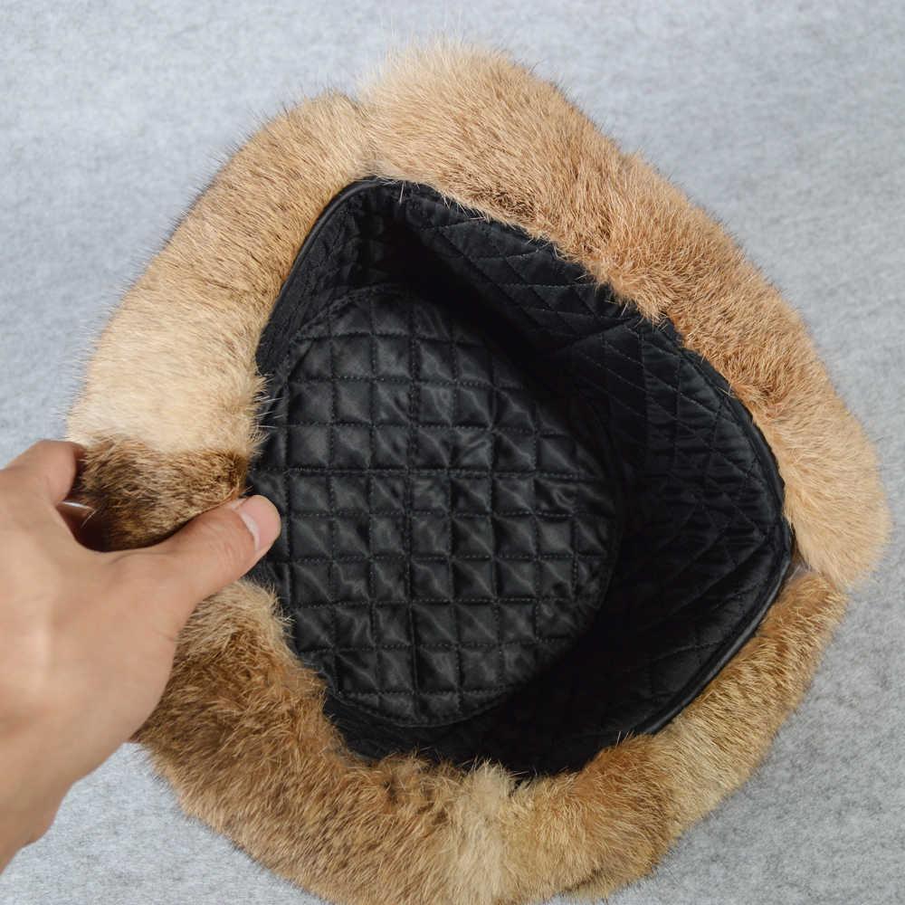 2019 Erkekler Kış Gerçek Tavşan Kürk Bombacı Şapka Açık Süper Sıcak 100% Doğal Tavşan Kürk Şapka Erkek Tam Pelt Hakiki tavşan Kürk Kap