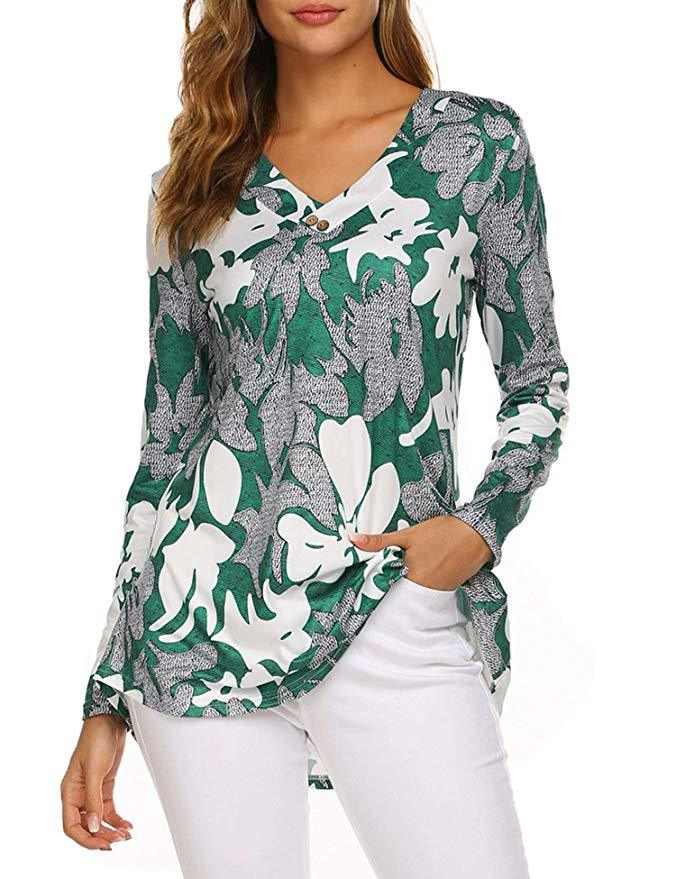 H4f2d1030d84e404584a55892c0ac405eB - Large size Blouse Women Floral Print Long Shirts elegant Long Sleeve Button Autumn Tunic Tops Plus Size Female Clothing