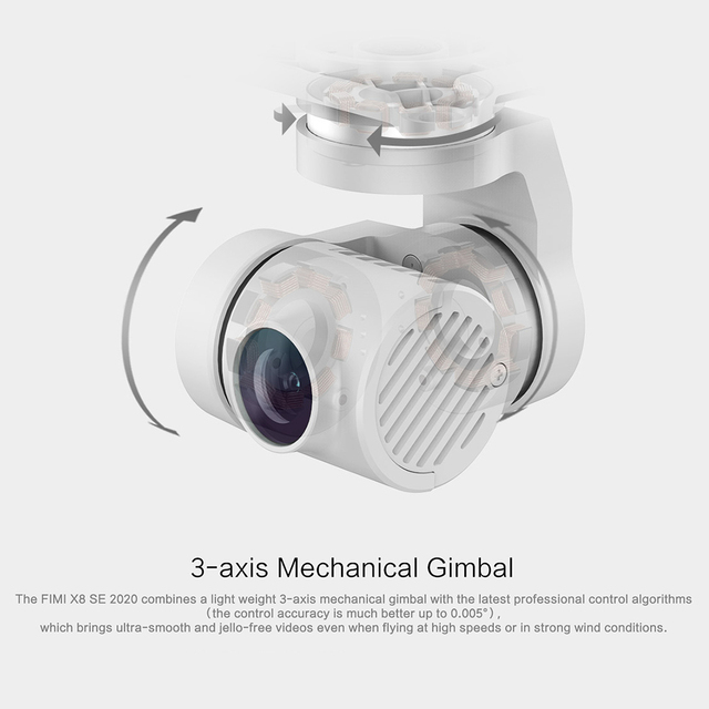 FIMI X8SE 2020 8KM FPV 3-Axis Gimbal 4K Camera RC Drone HDR Video GPS 35mins Flight Quadcopter Charging Battery RTF 3