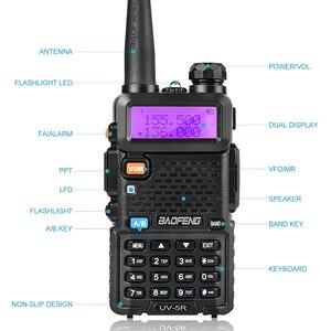 Image 4 - Baofeng Walkie Talkie UV 5R de doble banda, dispositivo de audio con pantalla Dual de 136 174/400 520mHZ, 5W, Radio bidireccional con auricular gratis BaoFeng UV 5R