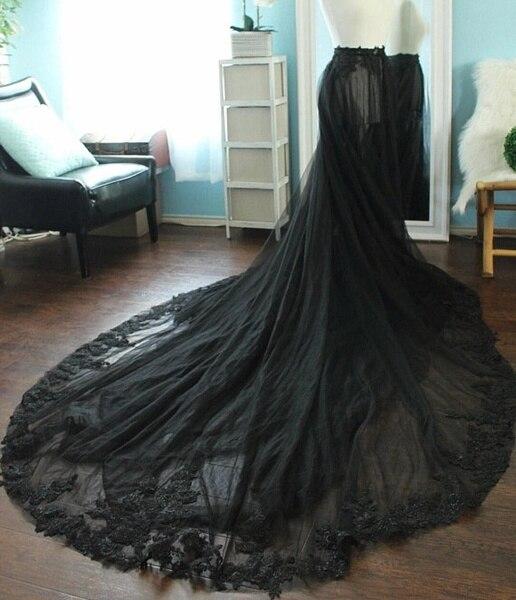 Black Sheer Lace Tulle Overskirt Black Tulle Skirt/ Black Bridal Skirt / Tulle Wedding Skirt / Black Wedding Skirt / Black Skirt