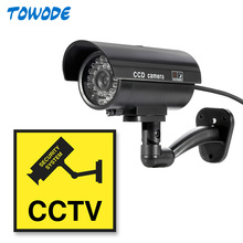 Towode Dummy Camera CCTV Surveillance Camera Home Security With LED Flash Light Fake Camera Waterproof Outdoor Camera