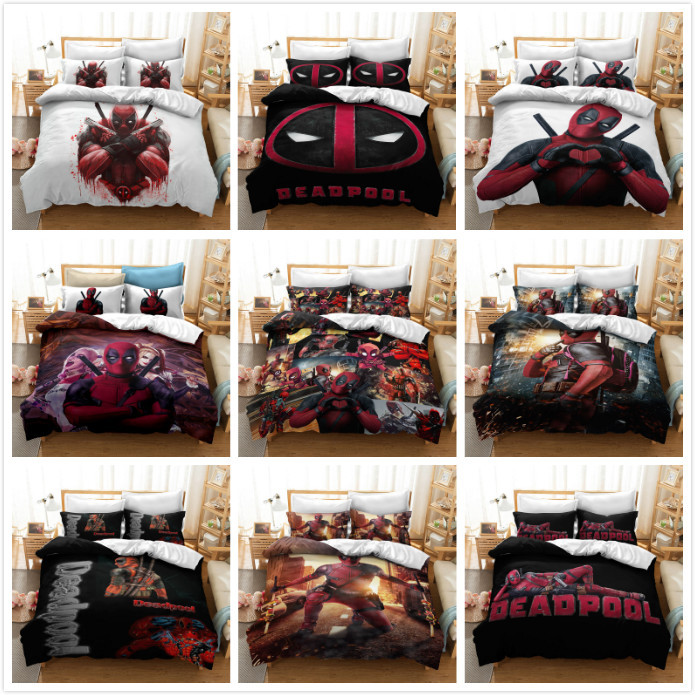 3D Cartoon Deadpool  Printed Bedding Set Quilt Bedding Set Superhero Bedding Set For Children Bedding Sets