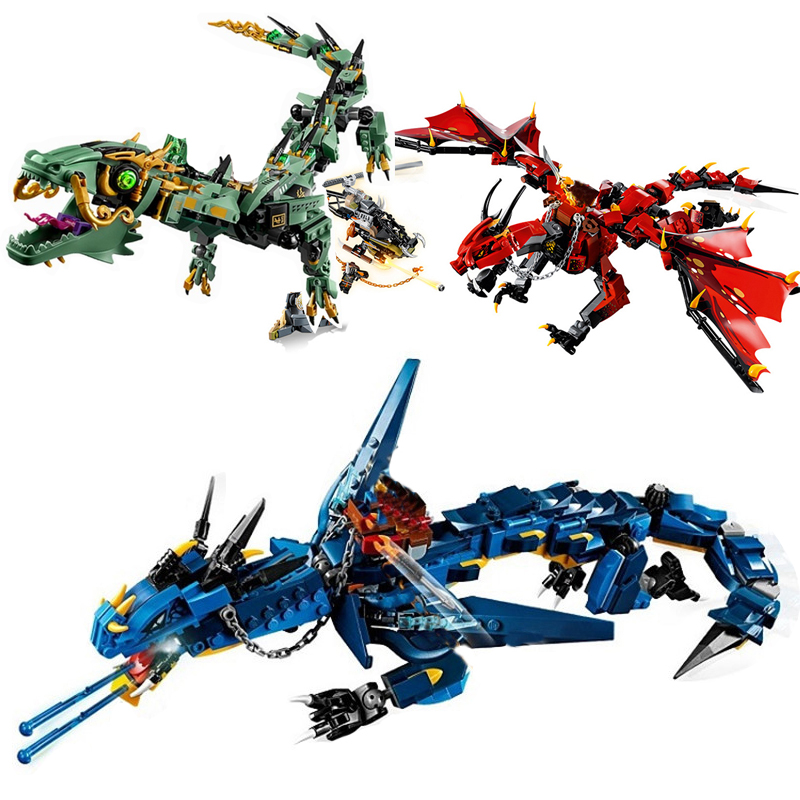 New Ninja Blue Red Dragon Knight Compatible <font><b>Legoingly</b></font> <font><b>Ninjagoes</b></font> Building Blocks Brick Toy Children Boy Christmas Gifts 70653 image