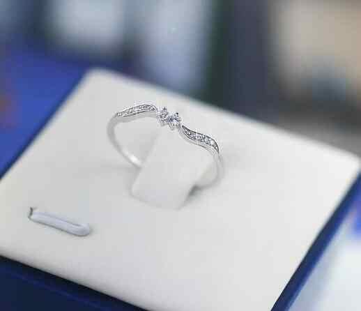 แหวนสตรีขนาด 6/7/8/9/10 Rose Gold/Sliver/สีขาวทอง rhinestone คริสตัลงานแต่งงานแหวนของขวัญแฟชั่นเครื่องประดับ