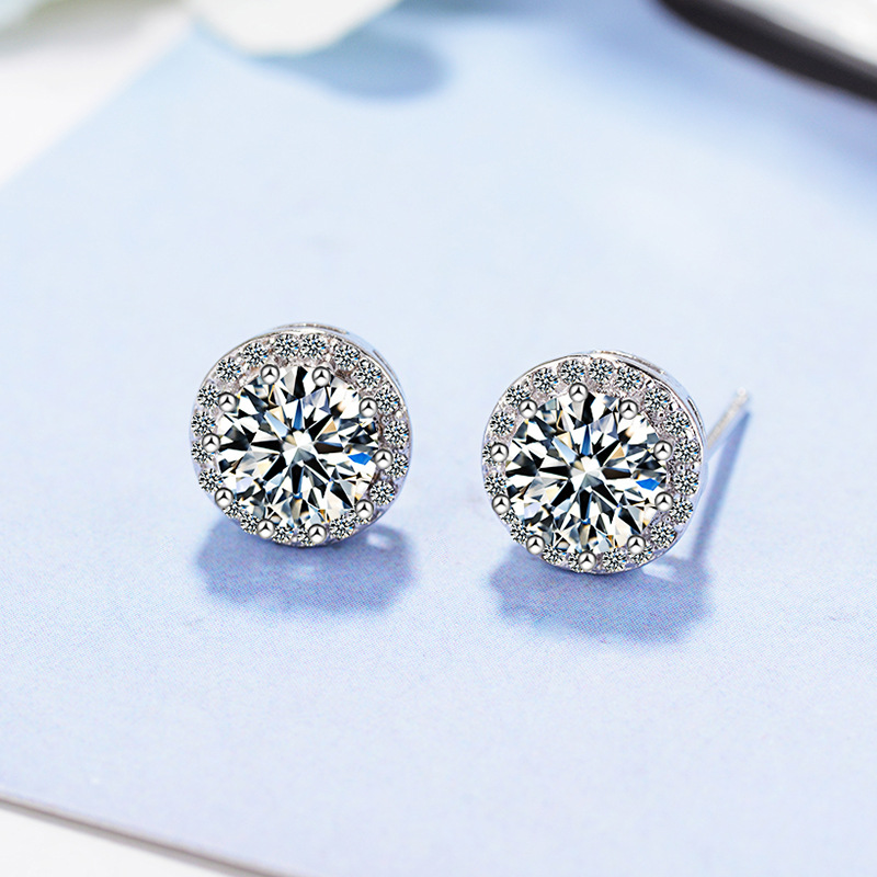 Minimalist Female White Crystal Stud Earrings Classic Silver Color Wedding Earrings Cute Round Zircon Small Earrings For Women