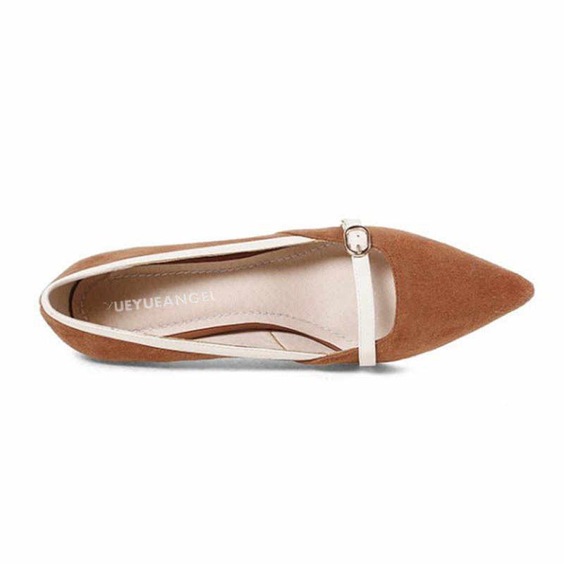Frauen 2020 Frühling Neue Echtes Leder Schuhe Casual Schnalle Komfort Slip Auf Dünnen High Heels Pumps Spitz Büro Arbeiten schuhe
