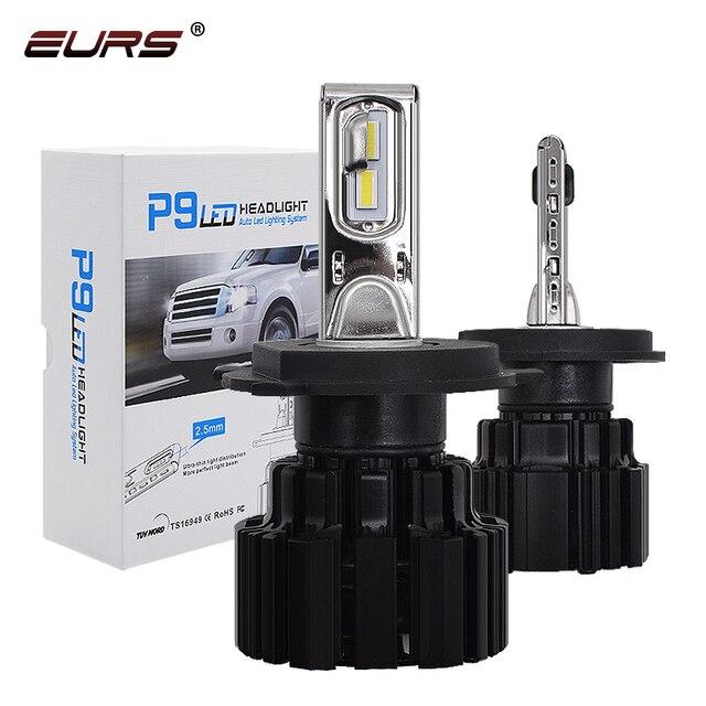 Eurs P9 led H4 H7 led 車のヘッドライト電球 100 ワット hi/lo ビーム H11 H8 H9 HB4 自動 led ヘッドライト H13 フォグライト D2S D4S hid 電球 13600LM