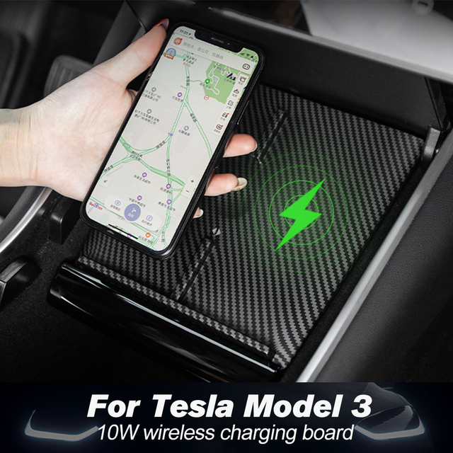 Super Sale 3227 Heenvn Model3 Car Wireless Charger For Tesla Model 3 Y Usb Ports Fast Charger Dual Phones Accessories Carbon Abs Model Three New Cicig Co