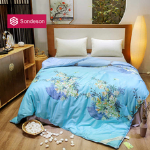 Sondeson Luxury 100% Silk Warm Blue Comforter/Blanket/Quilt/Duvet For Summer Winter Queen King Printed Flower Bedding For Adult